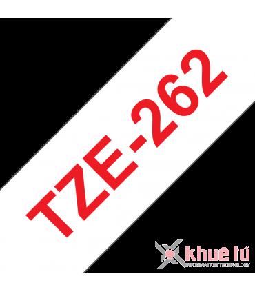 Brother TZe-262, khổ 36mm, dài 8m, Red on White, chống thấm nước