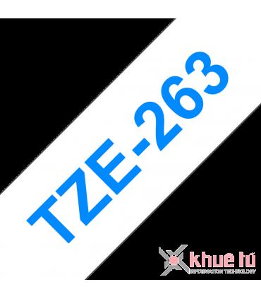 Brother TZe-263, khổ 36mm, dài 8m, Blue on White, chống thấm nước