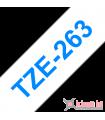 Băng nhãn in Brother TZe-263, khổ 36mm, dài 8m, Blue on White, chống thấm nước | Nhãn TZe tiêu chuẩn | khuetu.vn