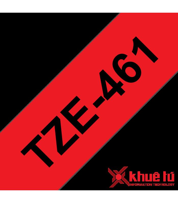 Băng nhãn in Brother TZe-461, khổ 36mm, dài 8m, Black on Red, chống thấm nước | Nhãn TZe tiêu chuẩn | khuetu.vn