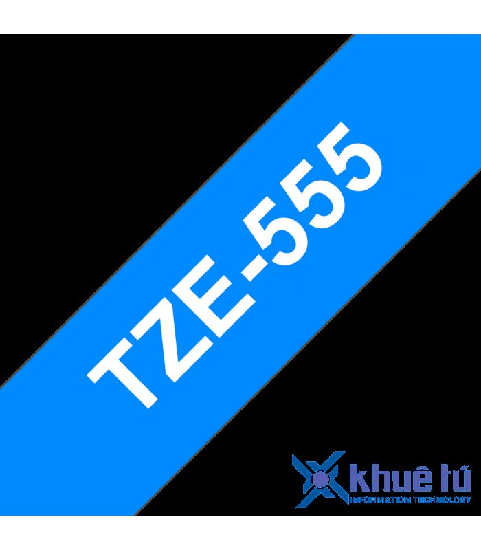 Băng nhãn in Brother TZe-555, khổ 24mm, dài 8m, White on Blue, chống thấm nước | Nhãn TZe tiêu chuẩn | khuetu.vn
