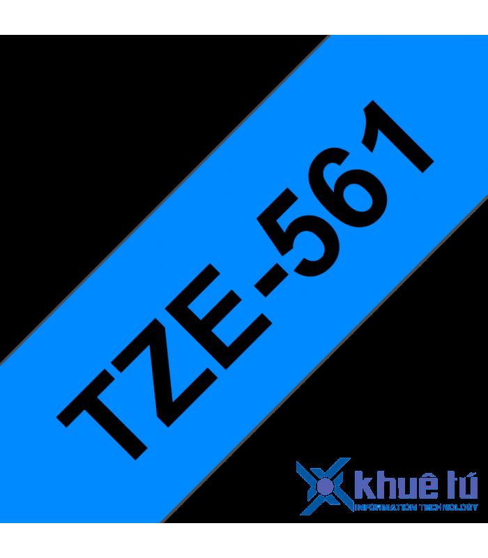 Băng nhãn in Brother TZe-561, khổ 36mm, dài 8m, Black on Blue, chống thấm nước | Nhãn TZe tiêu chuẩn | khuetu.vn
