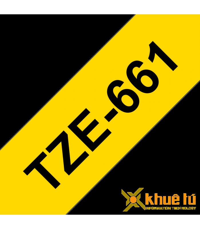 Băng nhãn in Brother TZe-661, khổ 36mm, dài 8m, Black on Yellow, chống thấm nước | Nhãn TZe tiêu chuẩn | khuetu.vn