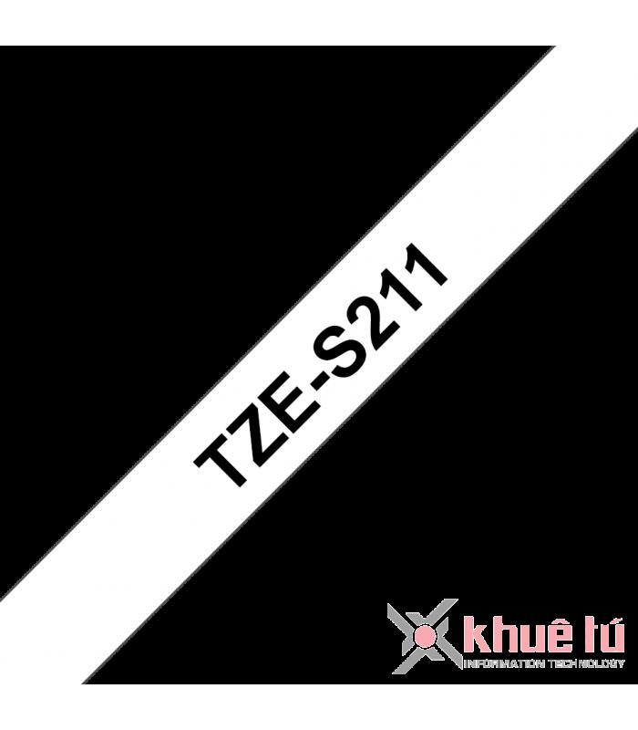 Băng nhãn in Brother TZe-S211, khổ 6mm, dài 8m, Black on White, siêu dính, chống thấm nước | Nhãn TZe siêu dính | khuetu.vn