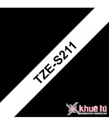 Brother TZe-S211, khổ 6mm, dài 8m, Black on White, siêu dính, chống thấm nước