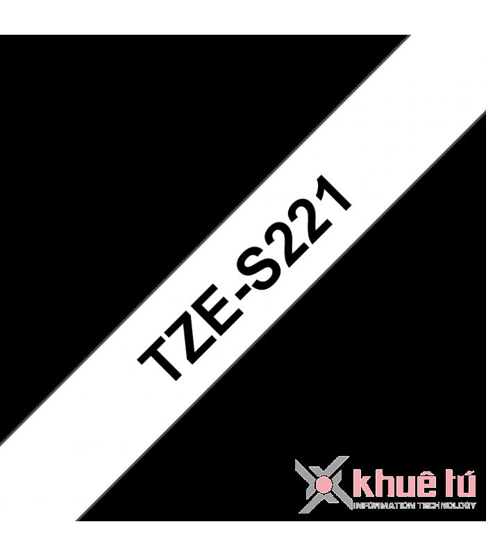 Băng nhãn in Brother TZe-S221, khổ 9mm, dài 8m, Black on White, siêu dính, chống thấm nước | Nhãn TZe siêu dính | khuetu.vn