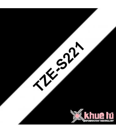 Brother TZe-S221, khổ 9mm, dài 8m, Black on White, siêu dính, chống thấm nước
