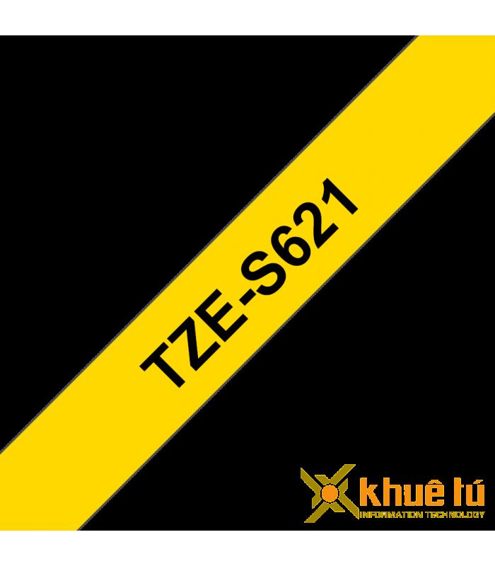 Băng nhãn in Brother TZe-S621, khổ 9mm, dài 8m, Black on Yellow, siêu dính, chống thấm nước | Nhãn TZe siêu dính | khuetu.vn