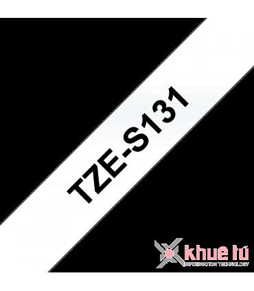 Brother TZe-S131, khổ 12mm, dài 8m, Black on Clear, siêu dính, chống thấm nước