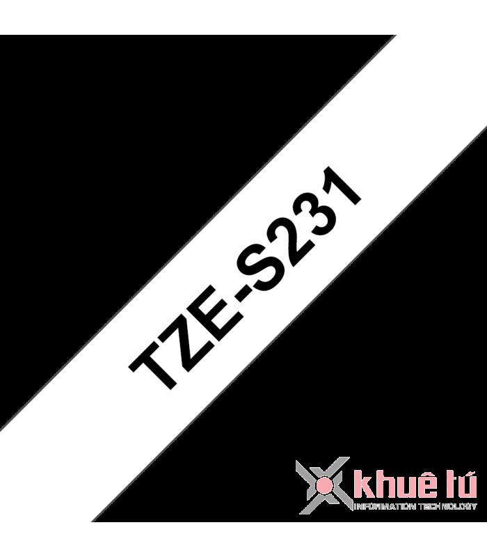 Băng nhãn in Brother TZe-S231, khổ 12mm, dài 8m, Black on White, siêu dính, chống thấm nước | Nhãn TZe siêu dính | khuetu.vn