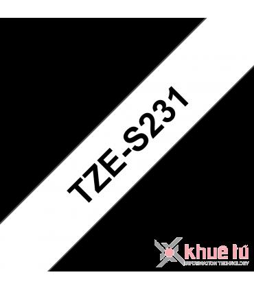 Brother TZe-S231, khổ 12mm, dài 8m, Black on White, siêu dính, chống thấm nước