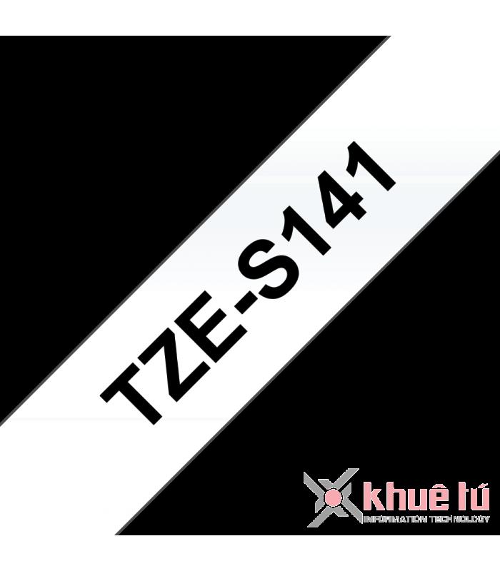 Băng nhãn in Brother TZe-S141, khổ 18mm, dài 8m, Black on Clear, siêu dính, chống thấm nước | Nhãn TZe siêu dính | khuetu.vn