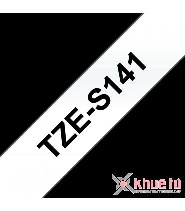 Brother TZe-S141, khổ 18mm, dài 8m, Black on Clear, siêu dính, chống thấm nước