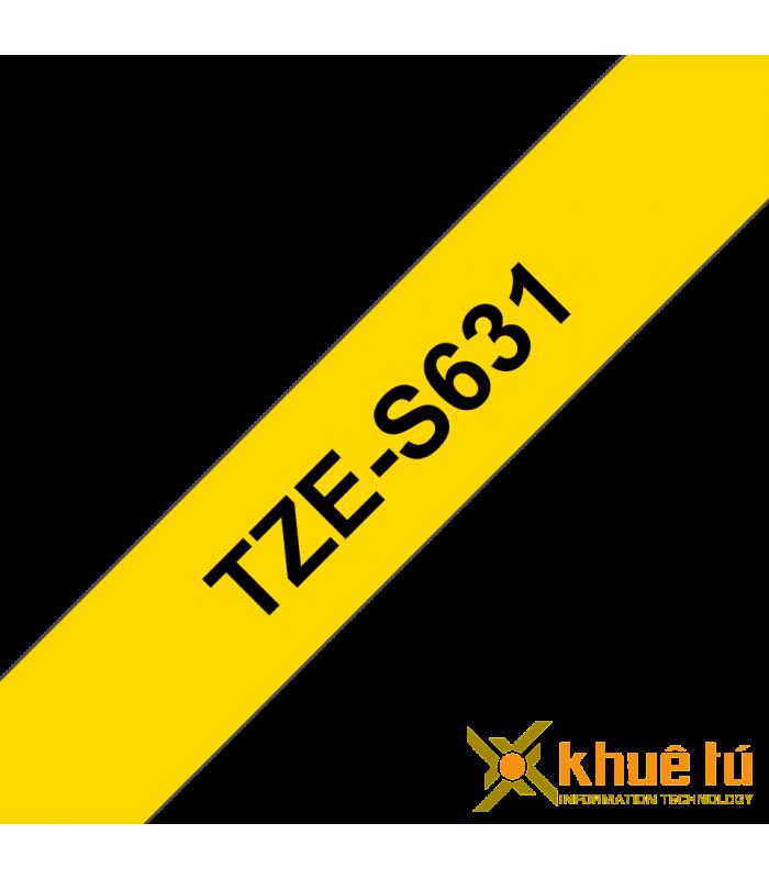 Băng nhãn in Brother TZe-S631, khổ 12mm, dài 8m, Black on Yellow, siêu dính, chống thấm nước | Nhãn TZe siêu dính | khuetu.vn