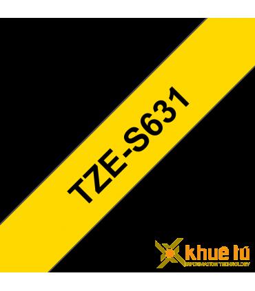 Brother TZe-S631, khổ 12mm, dài 8m, Black on Yellow, siêu dính, chống thấm nước