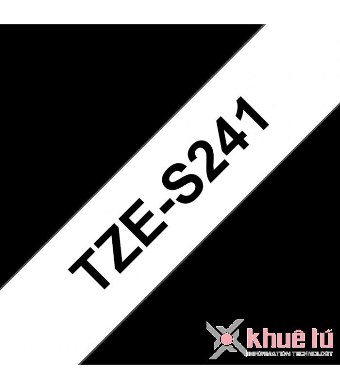 Băng nhãn in Brother TZe-S241, khổ 18mm, dài 8m, Black on White, siêu dính, chống thấm nước | Nhãn TZe siêu dính | khuetu.vn