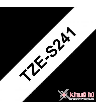 Brother TZe-S241, khổ 18mm, dài 8m, Black on White, siêu dính, chống thấm nước