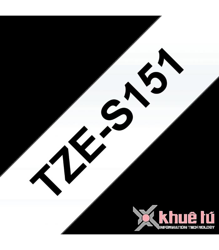 Băng nhãn in Brother TZe-S151, khổ 24mm, dài 8m, Black on Clear, siêu dính, chống thấm nước | Nhãn TZe siêu dính | khuetu.vn