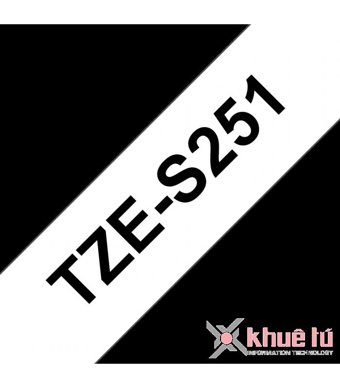 Băng nhãn in Brother TZe-S251, khổ 24mm, dài 8m, Black on White, siêu dính, chống thấm nước | Nhãn TZe siêu dính | khuetu.vn