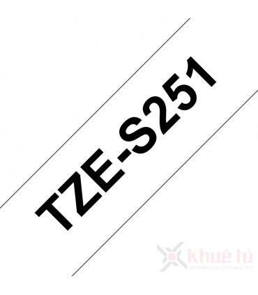 Brother TZe-S251, khổ 24mm, dài 8m, Black on White, siêu dính, chống thấm nước