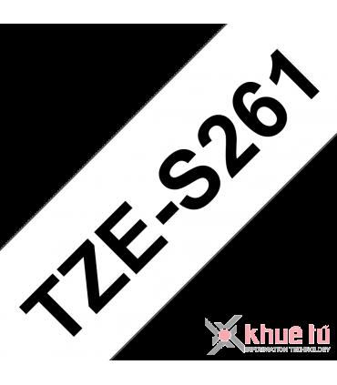 Brother TZe-S261, khổ 36mm, dài 8m, Black on White, siêu dính, chống thấm nước