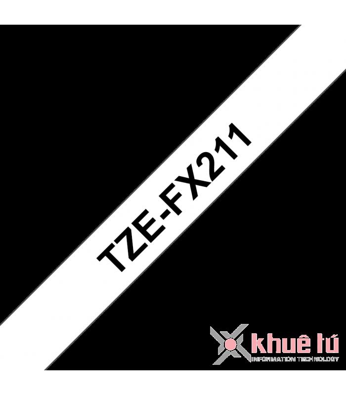 Băng nhãn in Brother TZe-FX211, khổ 6mm, dài 8m, Black on White, siêu dẻo, chống thấm nước | Nhãn TZe siêu dẻo | khuetu.vn