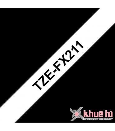 Brother TZe-FX211, khổ 6mm, dài 8m, Black on White, siêu dẻo, chống thấm nước