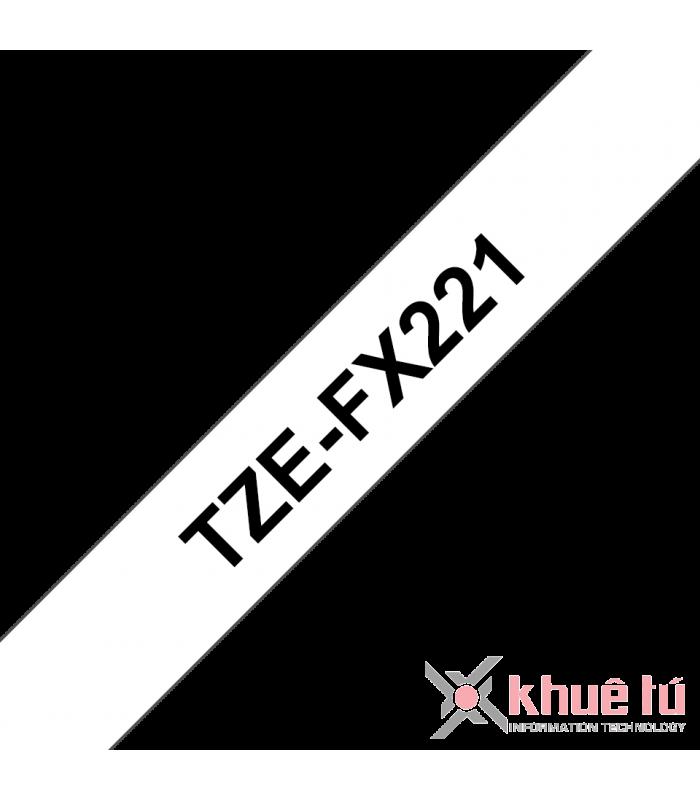 Băng nhãn in Brother TZe-FX221, khổ 9mm, dài 8m, Black on White, siêu dẻo, chống thấm nước | Nhãn TZe siêu dẻo | khuetu.vn