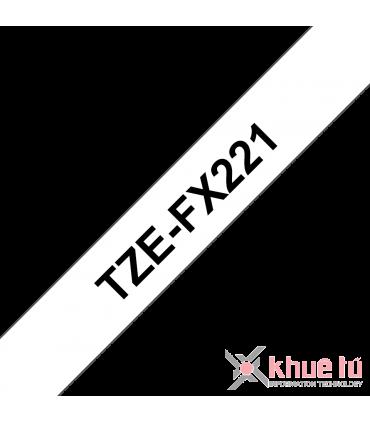 Brother TZe-FX221, khổ 9mm, dài 8m, Black on White, siêu dẻo, chống thấm nước