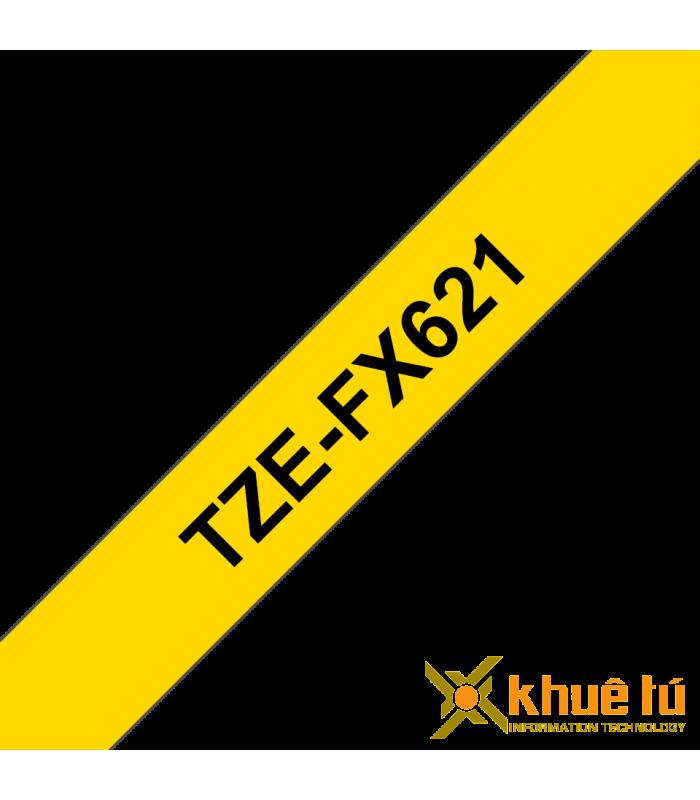 Băng nhãn in Brother TZe-FX621, khổ 9mm, dài 8m, Black on Yellow, siêu dẻo, chống thấm nước | Nhãn TZe siêu dẻo | khuetu.vn
