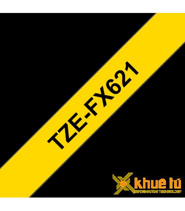 Brother TZe-FX621, khổ 9mm, dài 8m, Black on Yellow, siêu dẻo, chống thấm nước