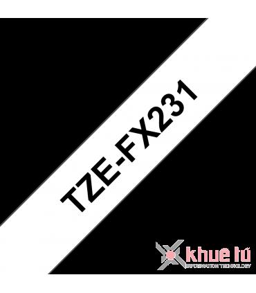 Brother TZe-FX231, khổ 12mm, dài 8m, Black on White, siêu dẻo, chống thấm nước