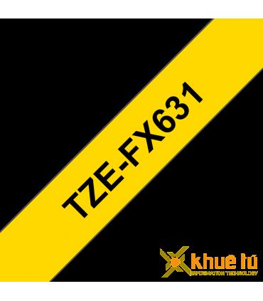 Brother TZe-FX631, khổ 12mm, dài 8m, Black on Yellow, siêu dẻo, chống thấm nước