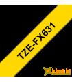 Băng nhãn in Brother TZe-FX631, khổ 12mm, dài 8m, Black on Yellow, siêu dẻo, chống thấm nước | Nhãn TZe siêu dẻo | khuetu.vn