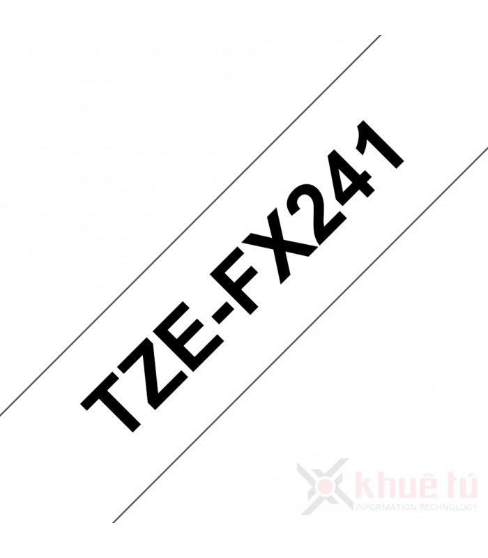 Băng nhãn in Brother TZe-FX241, khổ 18mm, dài 8m, Black on White, siêu dẻo, chống thấm nước | Nhãn TZe siêu dẻo | khuetu.vn