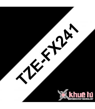 Brother TZe-FX241, khổ 18mm, dài 8m, Black on White, siêu dẻo, chống thấm nước