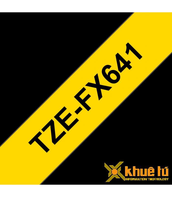 Băng nhãn in Brother TZe-FX641, khổ 18mm, dài 8m, Black on Yellow, siêu dẻo, chống thấm nước | Nhãn TZe siêu dẻo | khuetu.vn