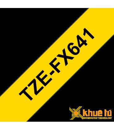 Brother TZe-FX641, khổ 18mm, dài 8m, Black on Yellow, siêu dẻo, chống thấm nước