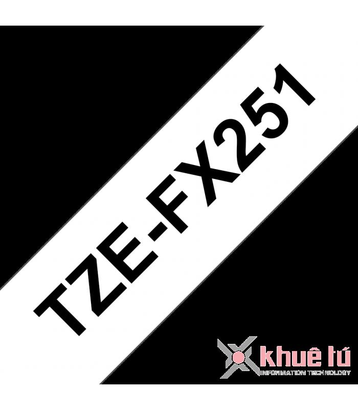 Băng nhãn in Brother TZe-FX251, khổ 24mm, dài 8m, Black on White, siêu dẻo, chống thấm nước | Nhãn TZe siêu dẻo | khuetu.vn