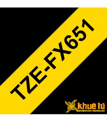 Brother TZe-FX651, khổ 24mm, dài 8m, Black on Yellow, siêu dẻo, chống thấm nước