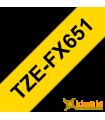 Băng nhãn in Brother TZe-FX651, khổ 24mm, dài 8m, Black on Yellow, siêu dẻo, chống thấm nước | Nhãn TZe siêu dẻo | khuetu.vn
