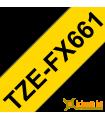 Băng nhãn in Brother TZe-FX661, khổ 36mm, dài 8m, Black on Yellow, siêu dẻo, chống thấm nước | Nhãn TZe siêu dẻo | khuetu.vn
