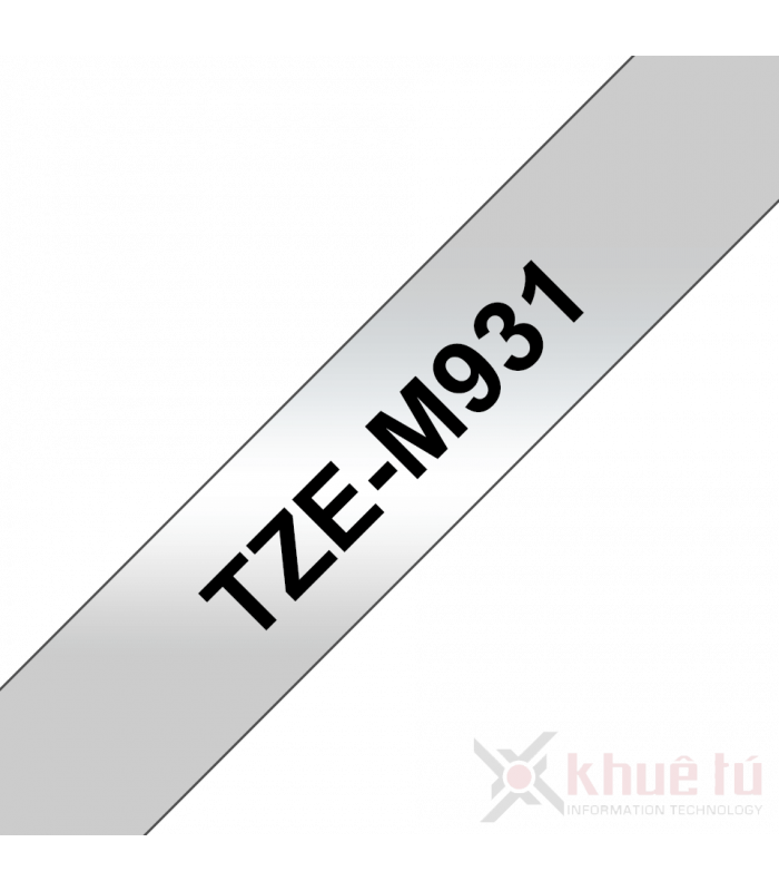 Băng nhãn in Brother TZe-M931, khổ 12mm, dài 8m, Black on Silver Matt, nhãn bạc, chống thấm nước | Nhãn TZe màu bạc | khuet...