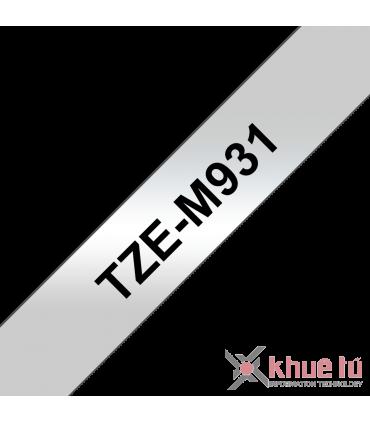 Brother TZe-M931, khổ 12mm, dài 8m, Black on Silver Matt, nhãn bạc, chống thấm nước