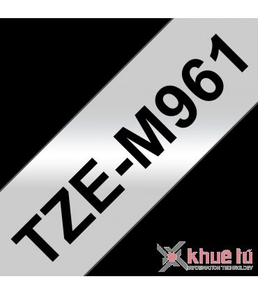 Brother TZe-M961, khổ 36mm, dài 8m, Black on Silver Matt, nhãn bạc, chống thấm nước