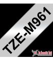 Băng nhãn in Brother TZe-M961, khổ 36mm, dài 8m, Black on Silver Matt, nhãn bạc, chống thấm nước | Nhãn TZe màu bạc | khuet...
