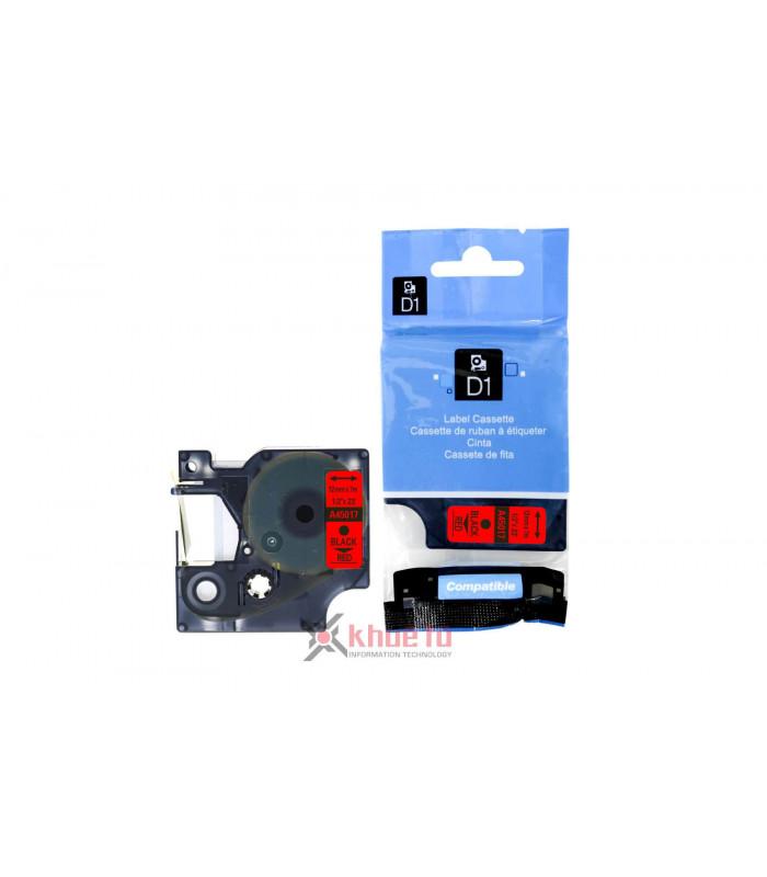 Băng nhãn in DM-A45017 D1 Tape A45017 12mm x 7m Black on Red | Nhãn Cho Máy Dymo | khuetu.vn