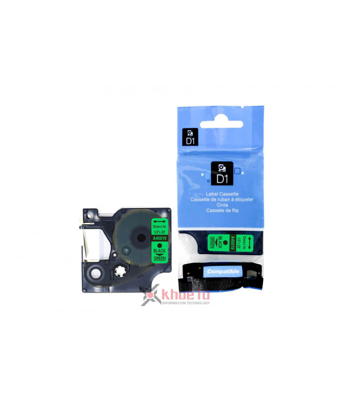 Băng nhãn in DM-A45019 D1 Tape A45018 12mm x 7m Black on Green | Nhãn D1 - Máy LabelManager | khuetu.vn