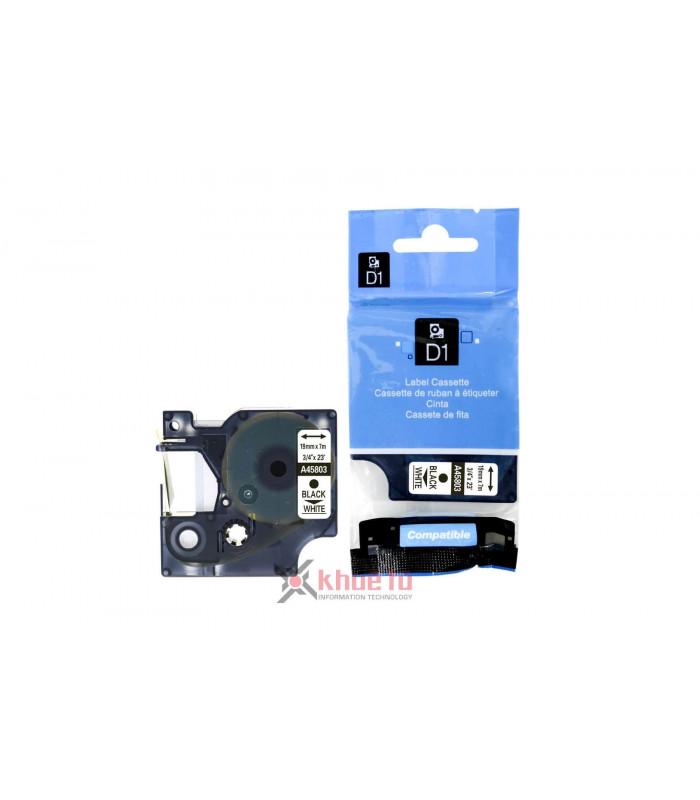 Băng nhãn in DM-A45803 D1 Tape A45803 19mm x 7m Black on White | Nhãn Cho Máy Dymo | khuetu.vn