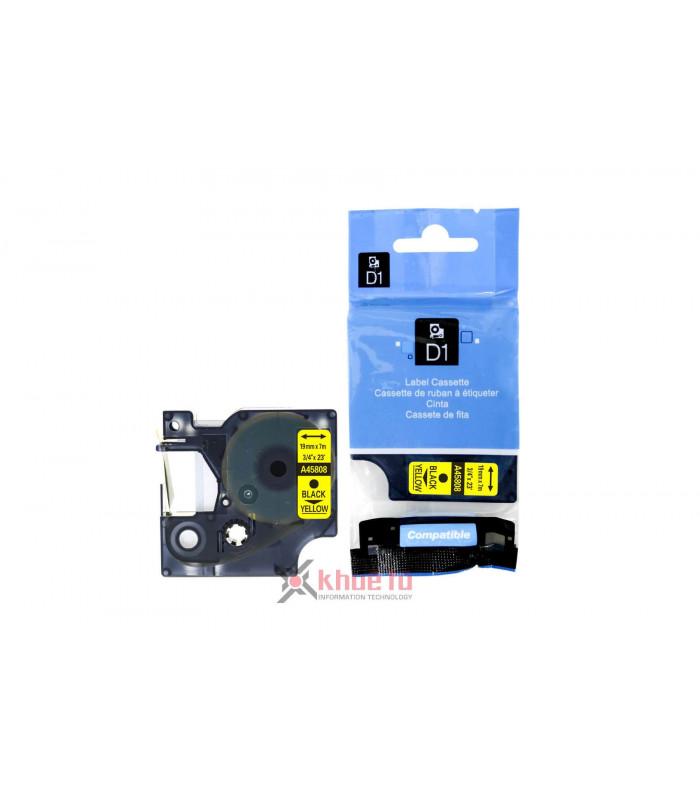 Băng nhãn in DM-A45808 D1 Tape A45808 19mm x 7m Black on Yellow | Nhãn Cho Máy Dymo | khuetu.vn
